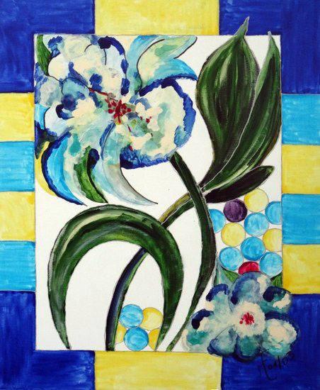 Vitrail fleurs bleues et jaunes