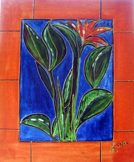Vitrail fleur exotique